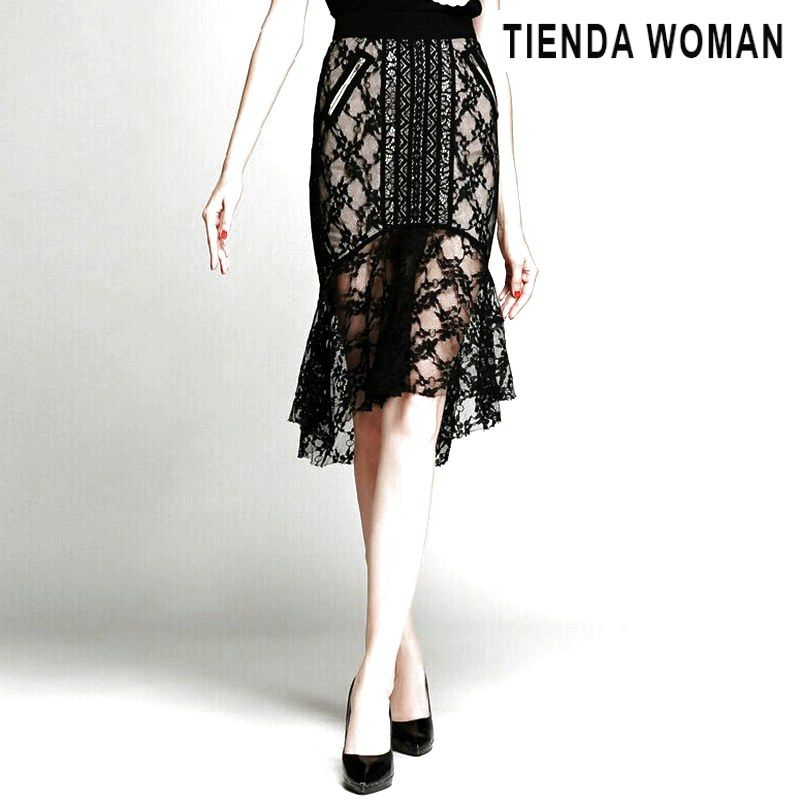 2baa47eb7 Skirts Sexy Perspective Black Lace Skirt Women High Quality Lace Ho ...