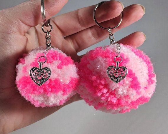5af8a0cd18aa Pom Pom Keychain, Pom Pom Bag Charm, Pink Keychain, Unique Key chain ...