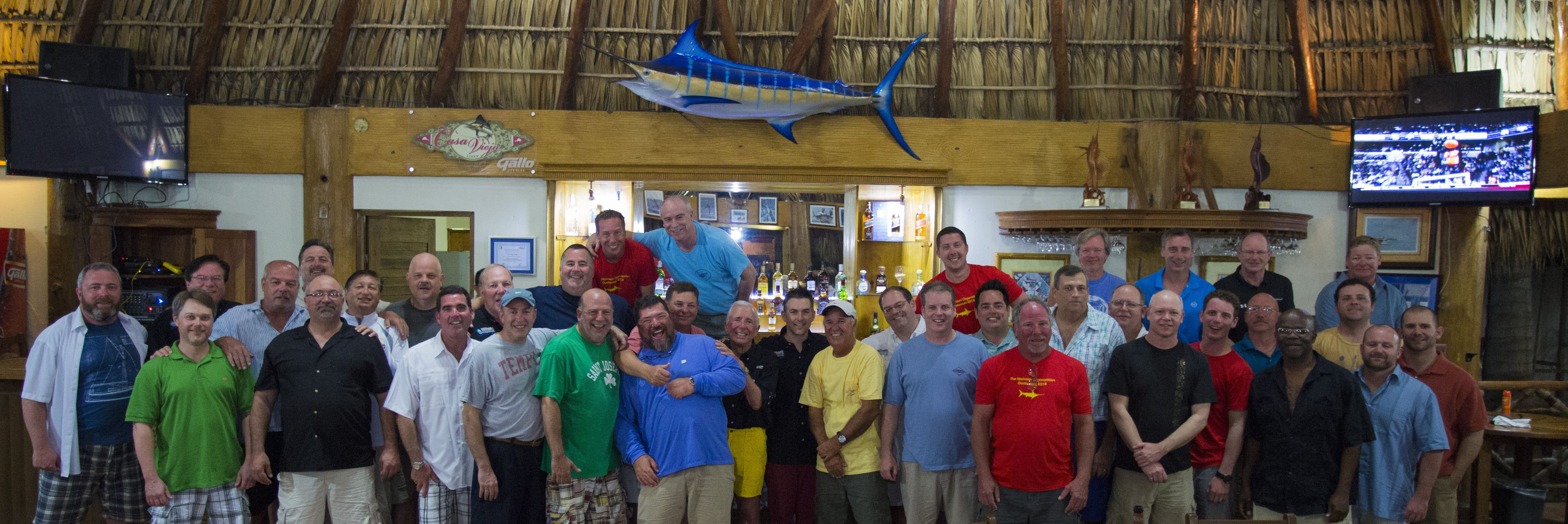 Group photo at our bar, great times after fishing in Guatemala's Pacific Coast