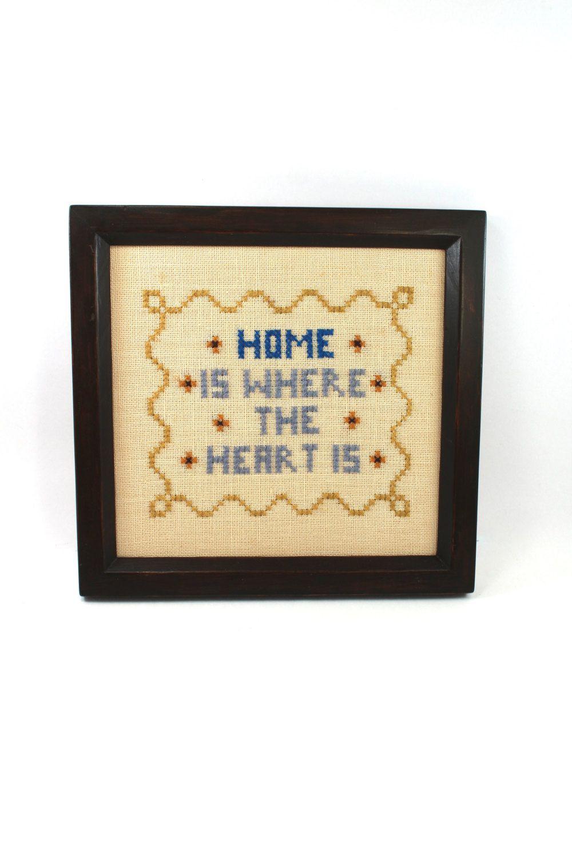 Vintage cross-stitch, framed - \