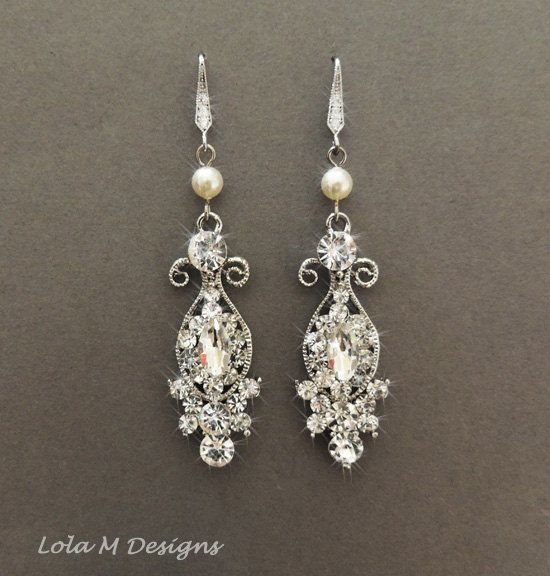 Vintage Inspired Bridal Earrings Wedding Jewelry Crystal Chandelier