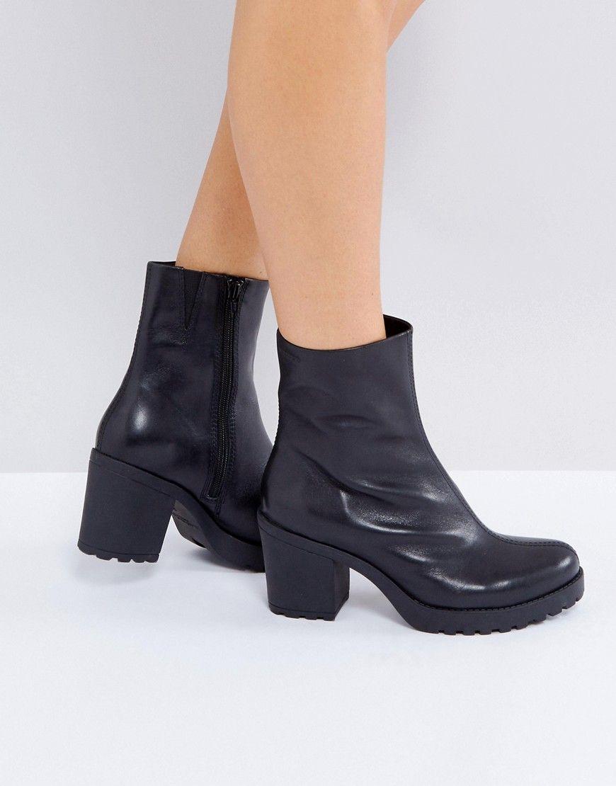 Shop Vagabond Grace Black High Cut Leather Socks Boots at ASOS.