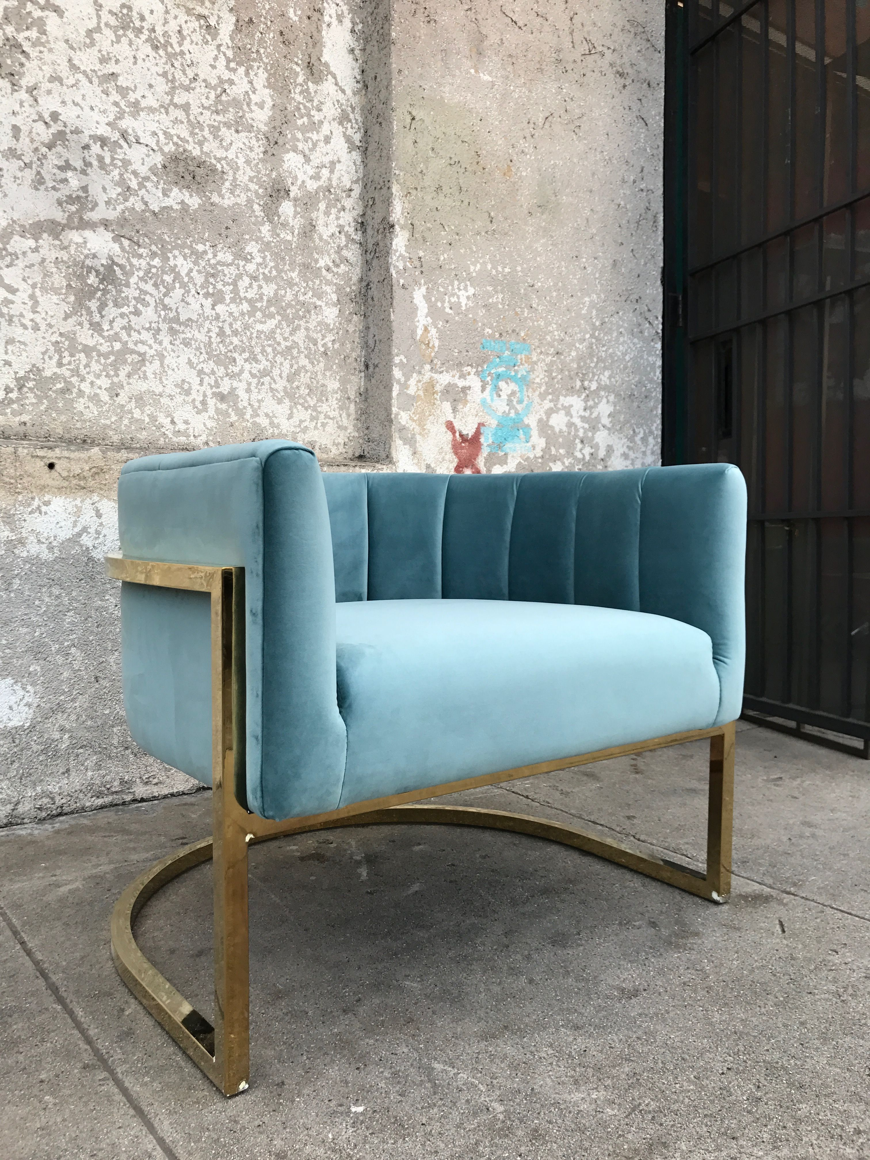 Best Minty Blue Velvet Club Chair With Brass Frame Blue 400 x 300
