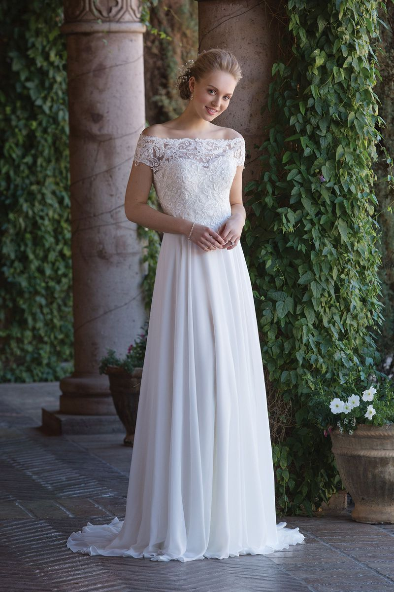 Sincerity Bridal - Style 4003: Sweetheart Chiffon Gown with Beaded ...