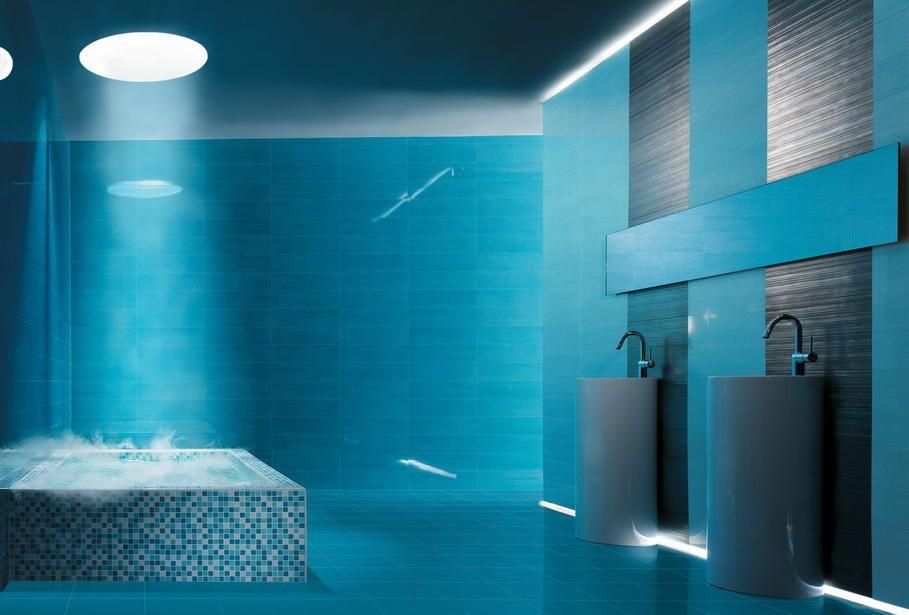 Photo Deco Salle De Bains Bleu Turquoise Moderne Modern Bathroom Colours Bathroom Colors Modern Bathroom