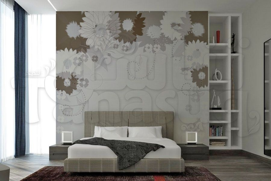 ورق جدران ورد رمادي Tanasuq Home Decor Decor Furniture