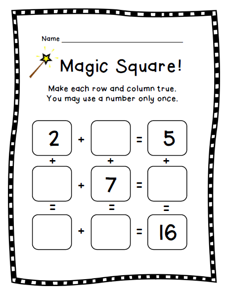 How Do Your Kids Practice Math Facts With Magic Square Kids Will Actually Think And Use Reasoning To Solve A Puzzle Under Math Facts Magic Squares Math Math