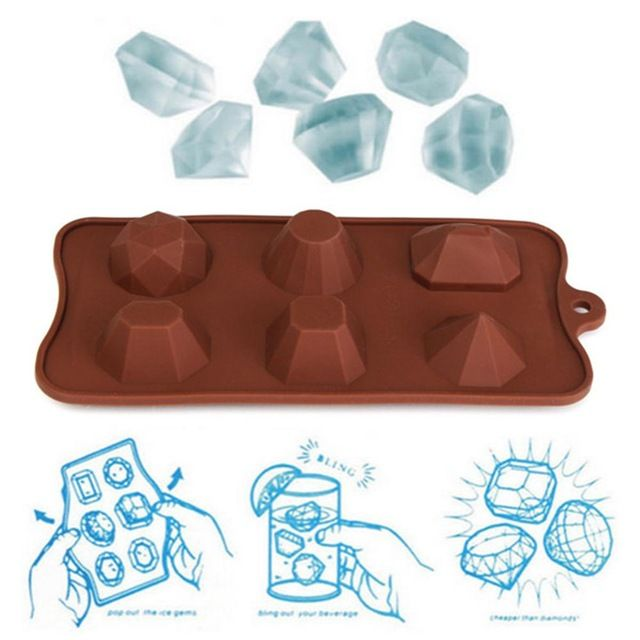 Ice Cube Tray Mold Gem Diamond Chocolate Candy Moulds Muffin Cup Cake Mold Silicone Cupcake Kitchen Baking Tools SML079