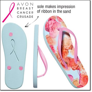 Breast Cancer Floral-Print Flip-Flop Man-made materials. Imported. $2.40 goes to breast cancer carlagriffin.avonrepresentative.com