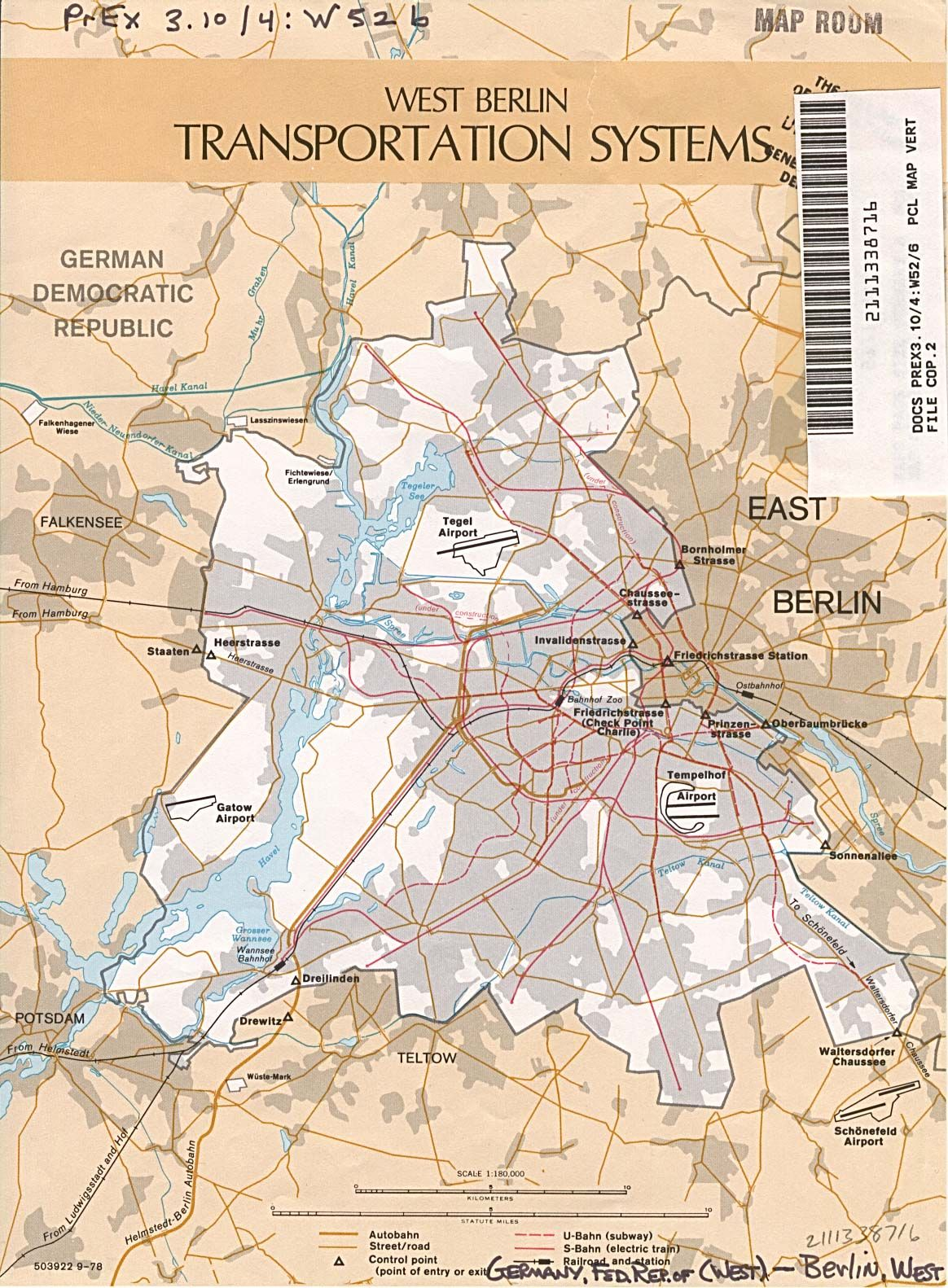 Berlin Wall Subway Map.West Berlin Transport 1978 Maps West Berlin Berlin Berlin Wall