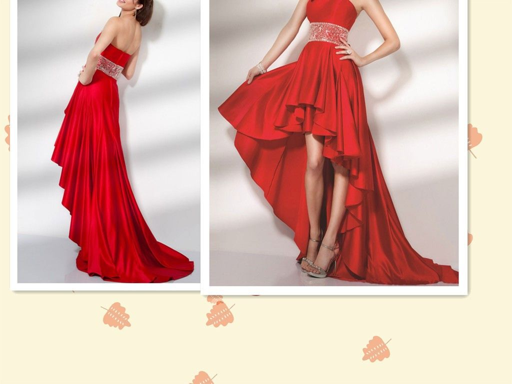 Short front long back beaded waistband red satin strapless prom