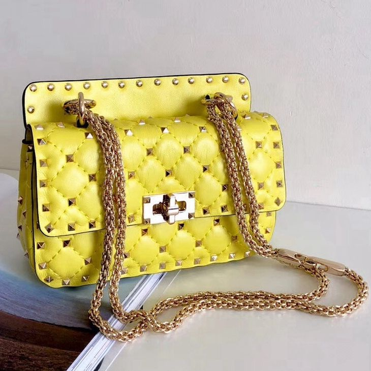 9130fd16e5 Valentino Crumpled Lambskin Small Rockstud Spike Chain Bag Yellow 2018