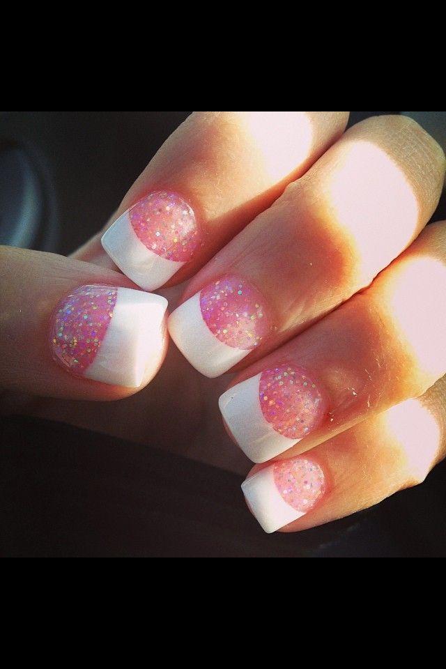 Sparkly French solar nails :) | Nail Designs | Pinterest | Solar ...