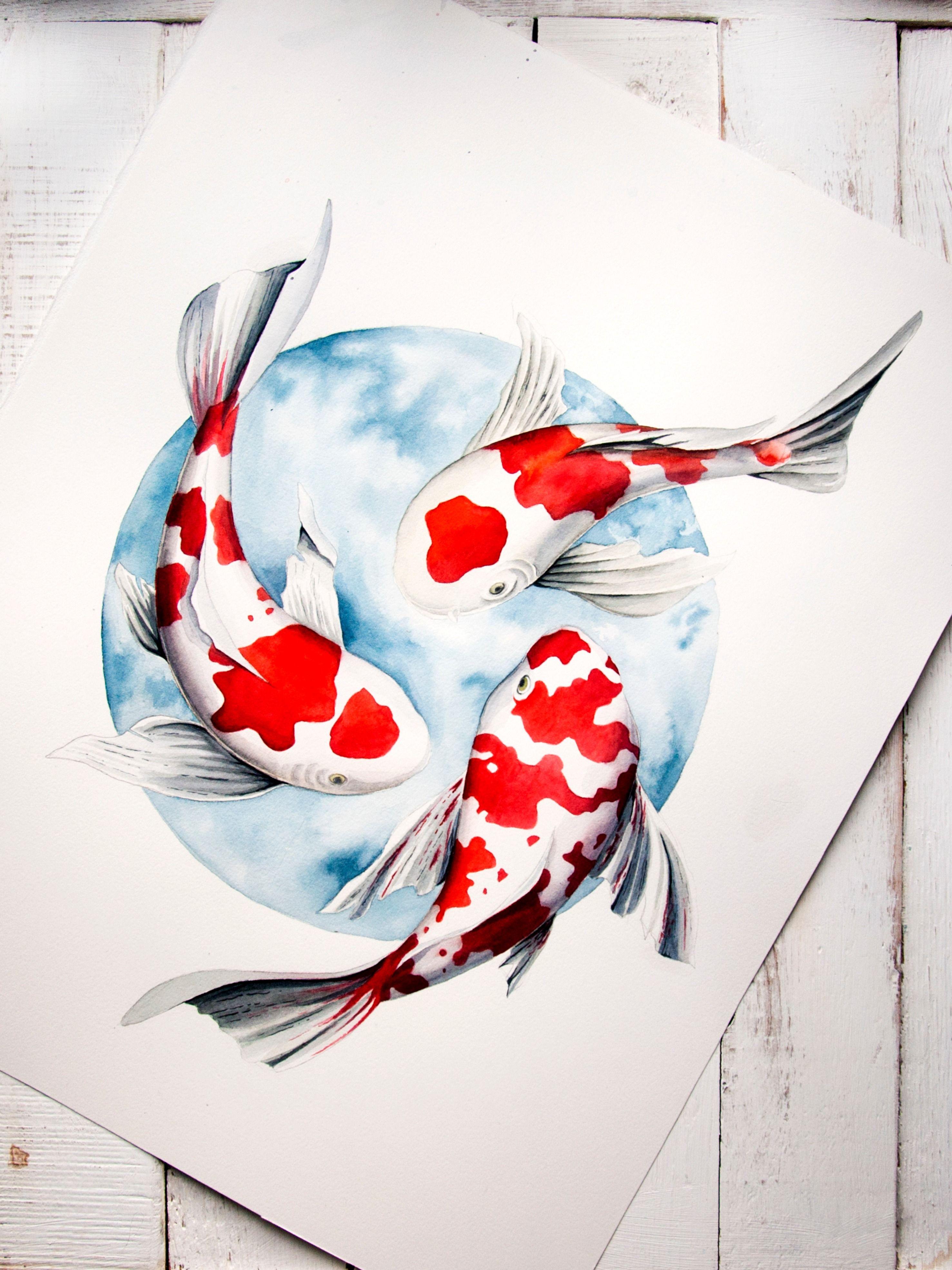 Watercolor Koi Fish Painting Japanese Pisces Art Goldfish