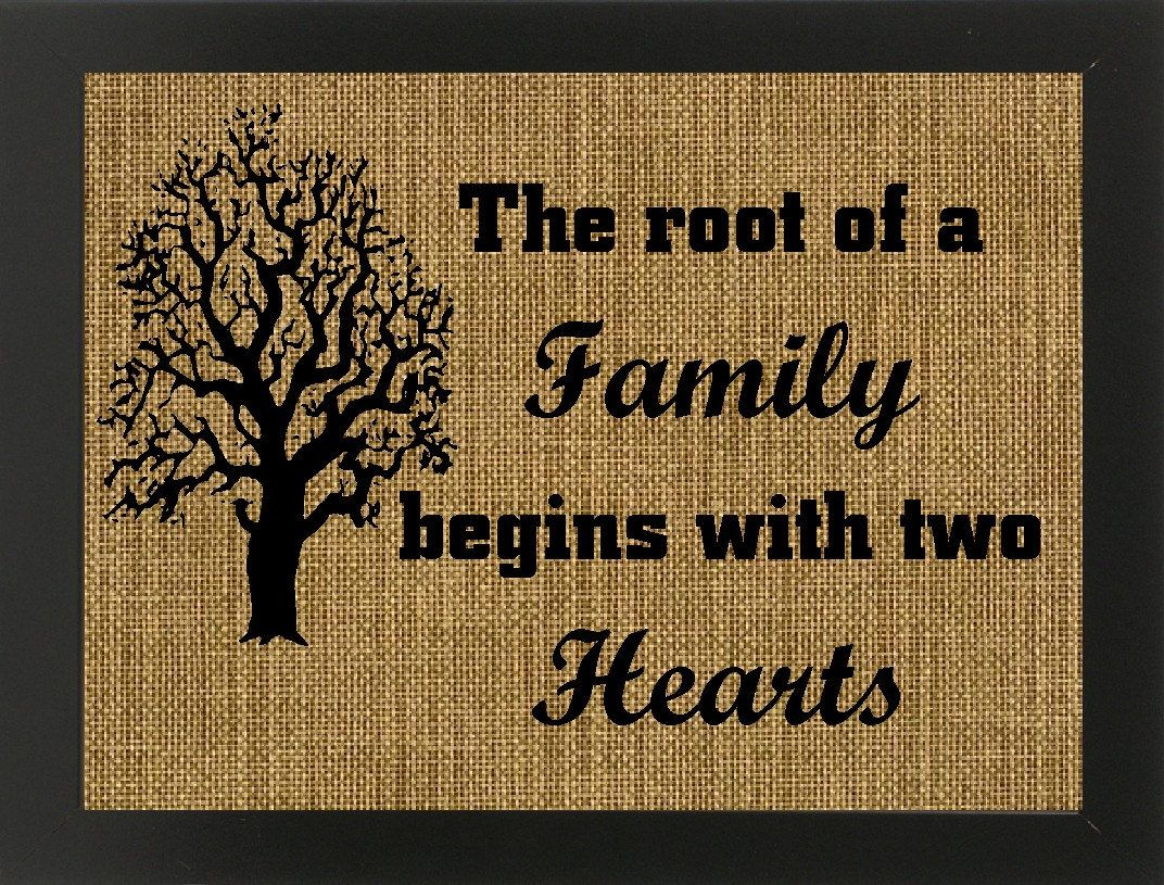 The Root of a Family Begins With Two Hearts Burlap Wall Hanging/Wall Decor/Wedding Gift/Housewarming/Mother's Day/Burlap Decor/Housewares by BurlapNGlass on Etsy