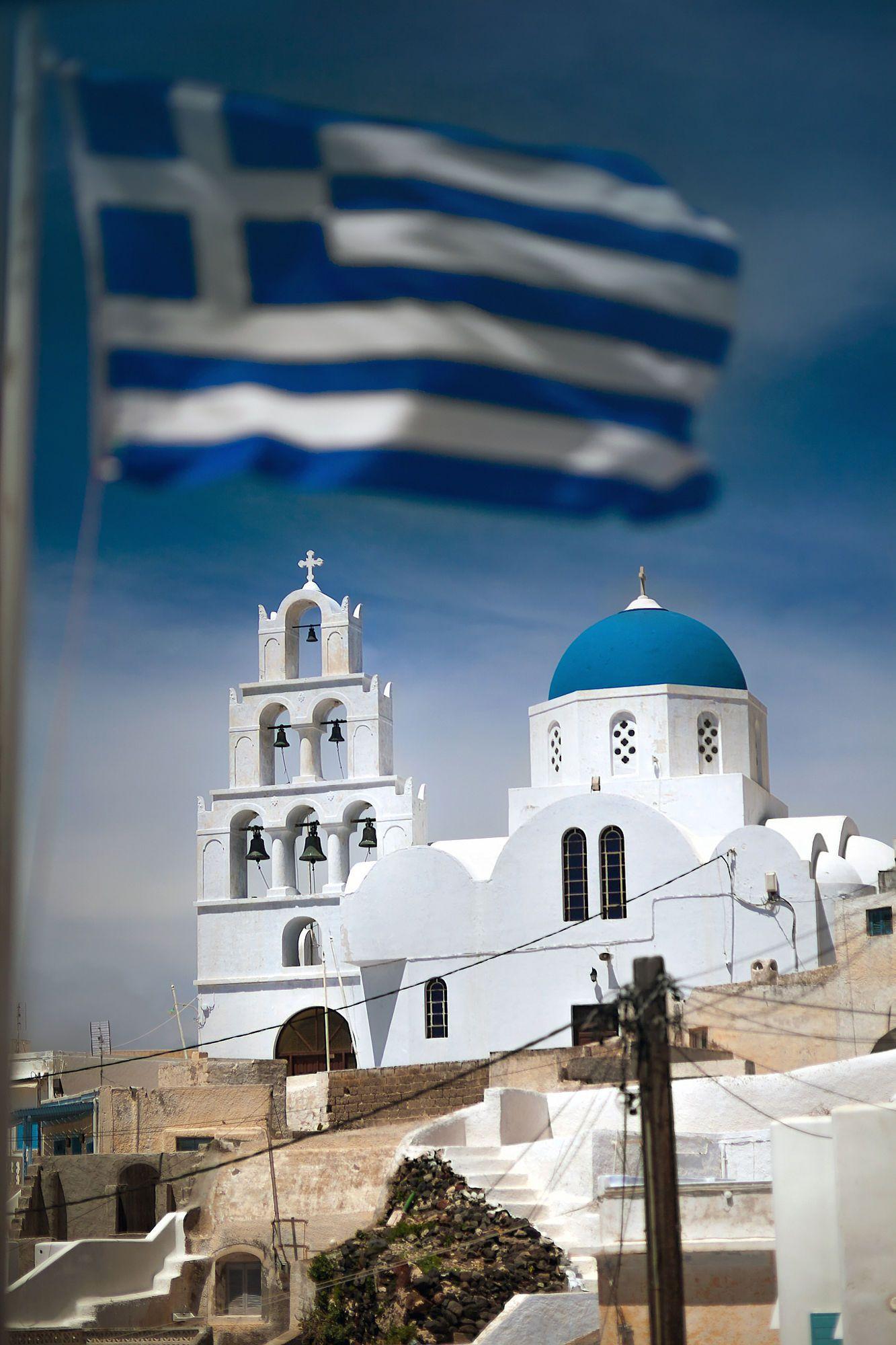 Greek flag in Oia, Santorini