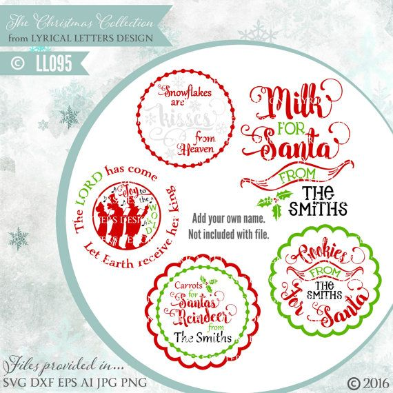 c4f9d399206bb Christmas Plates Mugs Cookies Milk Carrots for Santa LL095 - SVG DXF ...