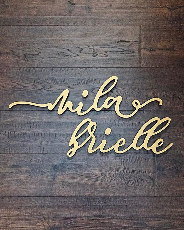 Cursive Gold Wood Name Sign to hang in a pretty Nursery or little girl's bedroom wall.