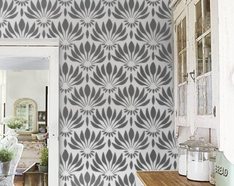 Wall Stencil Art pattern stencil - art deco fan flowers - large allover wall