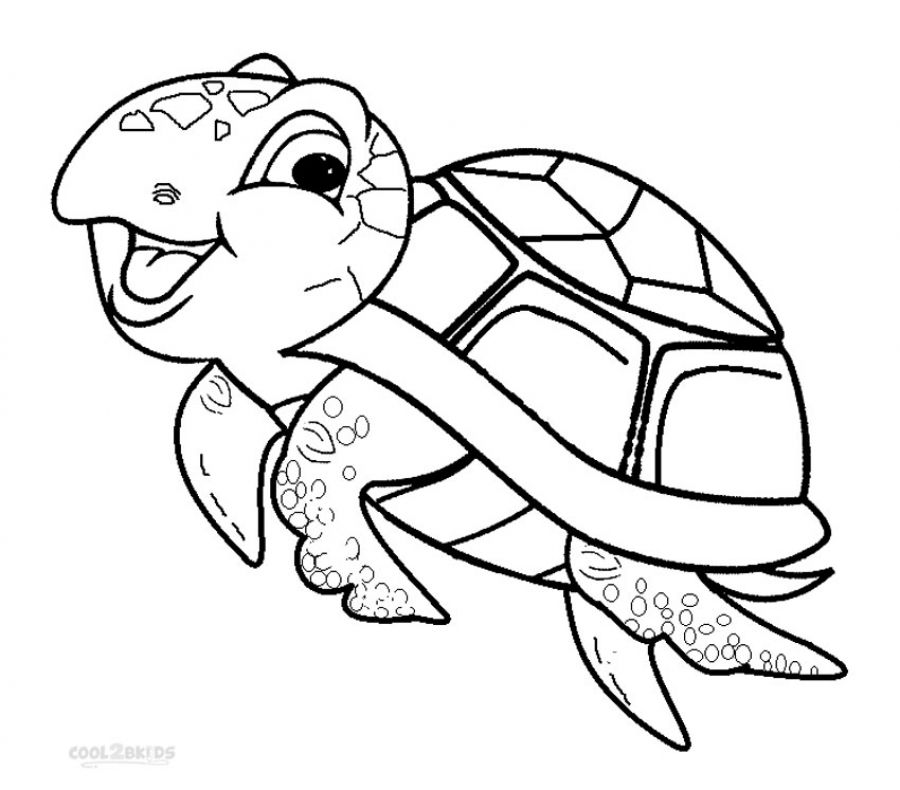 Smiling happy sea Turtle coloring pages for children