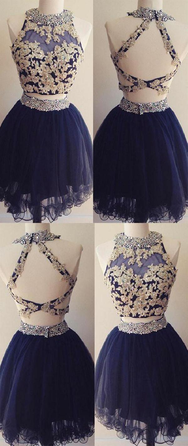 Discount popular dark blue prom dresses two pieces prom dresses