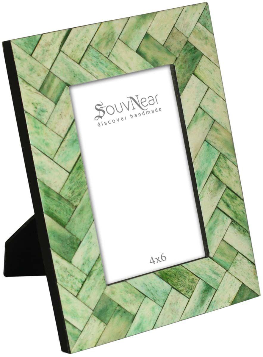 "4 x 6"" Handmade Picture Frame In Bulk - Tonal Green Colored Photo ..."