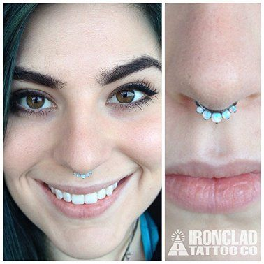 White Opal Septum Clicker From Industrial Strength Body Jewelry