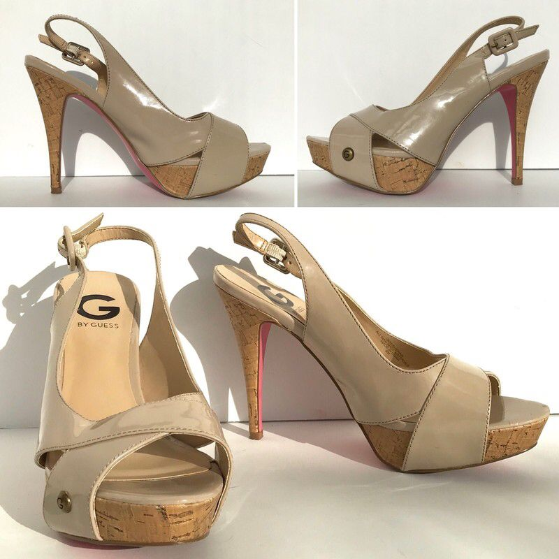 373cfc060e My G by Guess Nude Beige Patent Leather Peep Toe Slingback Stiletto  Corkheel Sandal Pump Size