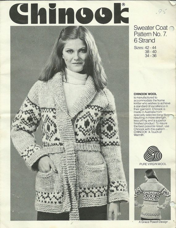 Chinook 6 Strand Knitting Pattern Sweater Coat Pattern No 7 Size 34