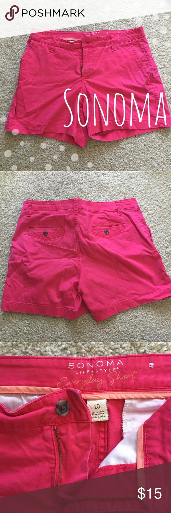 ⚡️flash sale ⚡️Pink Sonoma Life + Style Shorts Bright pink summer fun shorts ▪️98% Cotton ▪️2% Spandex  ▪️ Worn 2x    🚭 Smoke-free home 📬 Ships by next day 💲 Price negotiable   💕 Happy Poshing! 🎉 Sonoma Shorts