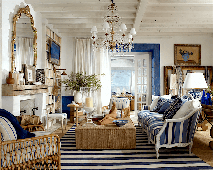 Bon Ralph_lauren_la Plage_collection_living Room Blue And White: Some Say That  You Canu0027t Mix Stripes. Well Ralph Has Proved Them Wrong.
