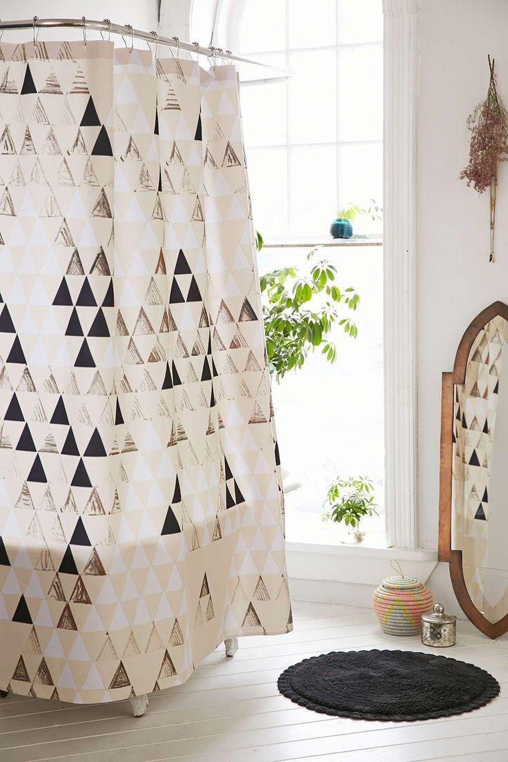 geometric shower curtain renter hack | bathroom | Pinterest ...