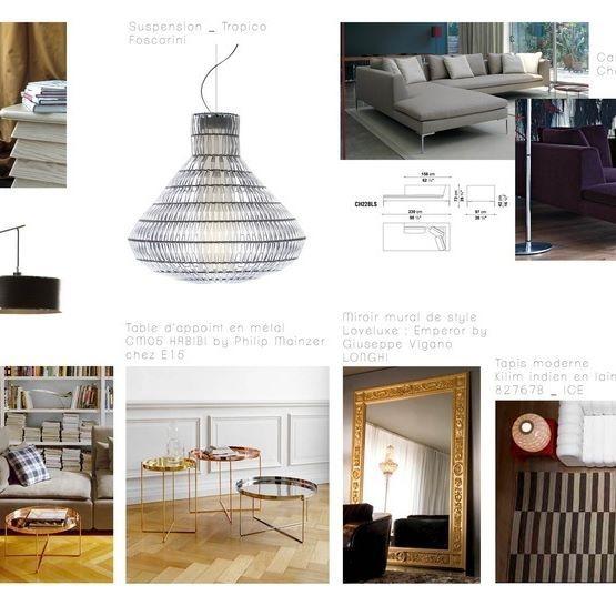 Planche de mobilier pour un salon dans une ambiance cosy et