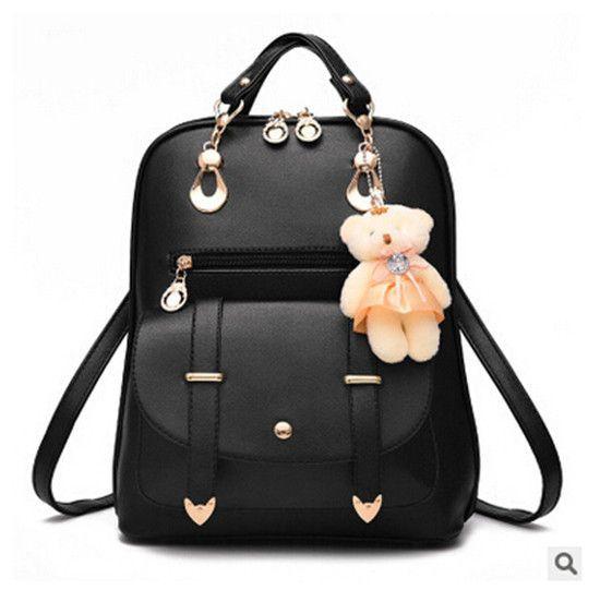 0790611e59 2016 New Women Leather Backpacks Bolsas Mochila Feminina Large Girls  Schoolbag Travel Bag Solid Candy Color