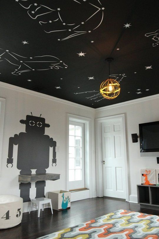 A Celestial Ceiling in a Black & White Playroom — Professional Project