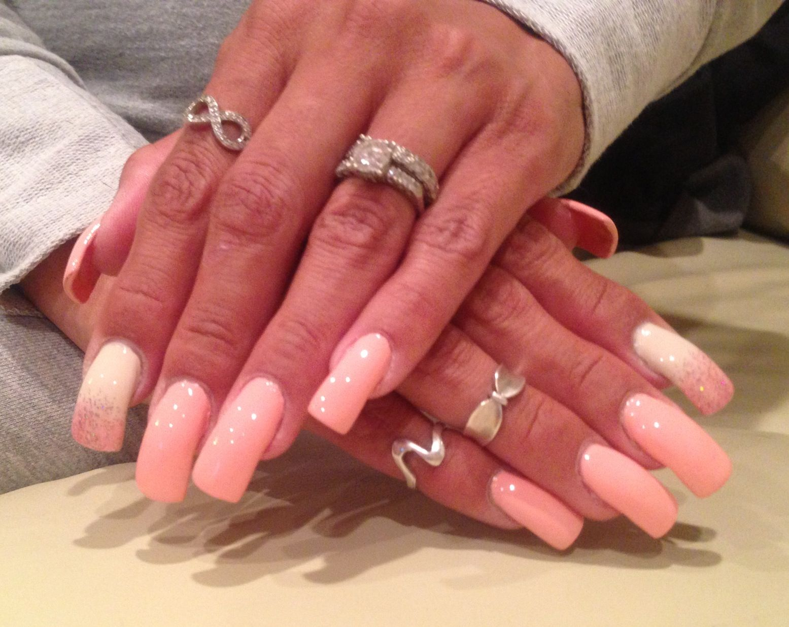 ombr pink & ivory nails