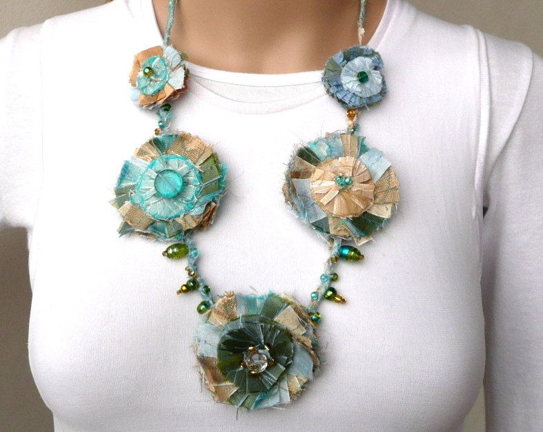Fabric Necklace Turquoise Gold Silk Flower Fiber Necklace 5 Rosettes Fabric Jewelry Silk Hand Sewn Beads One of a Kind Unique Shabby Chic. $95.00, via Etsy.