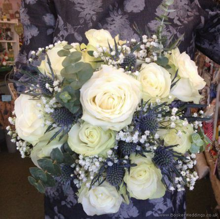 Blue And Cream Wedding Theme Hand Tied Bridal Bouquet With White Roses Eryngium Thistles Gypsophila Flowers Liverpo