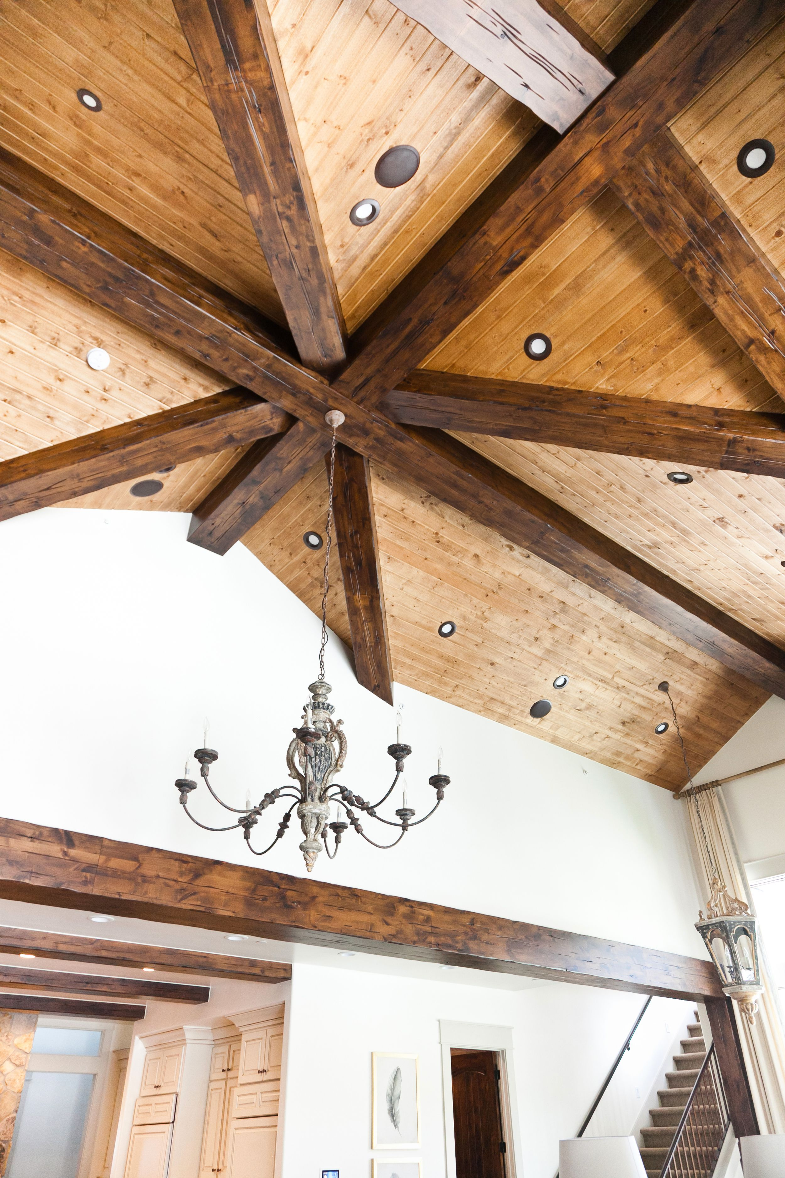 Timber Framed Ceiling With Tongue And Groove Tongue And Groove Ceiling Log Home Interiors Cabin Decor