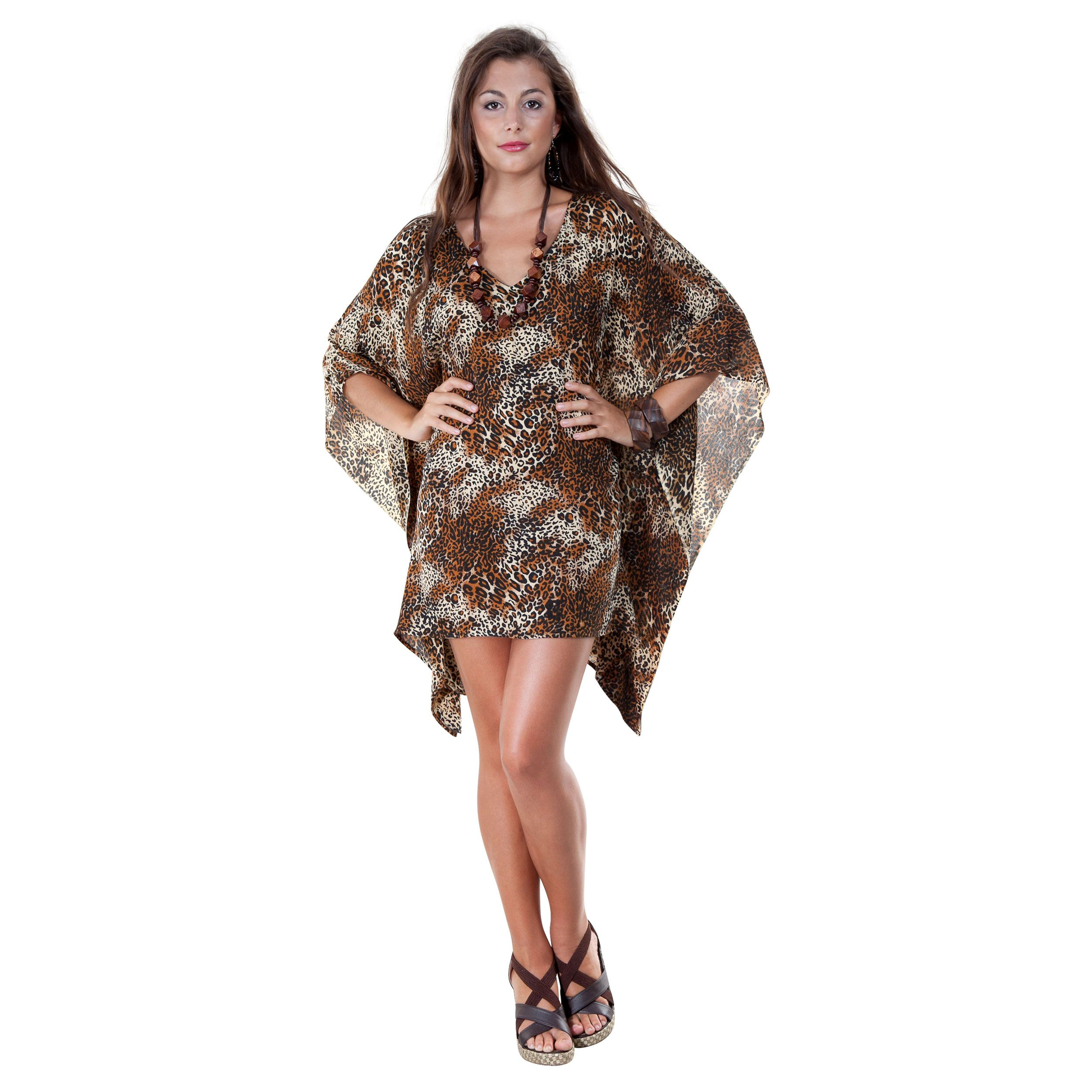 This Animal Print Poncho slides easily over your head with the open V-neck. This poncho can also be worn as a sexy beach cover-up or flirty top with jeans or leggings.