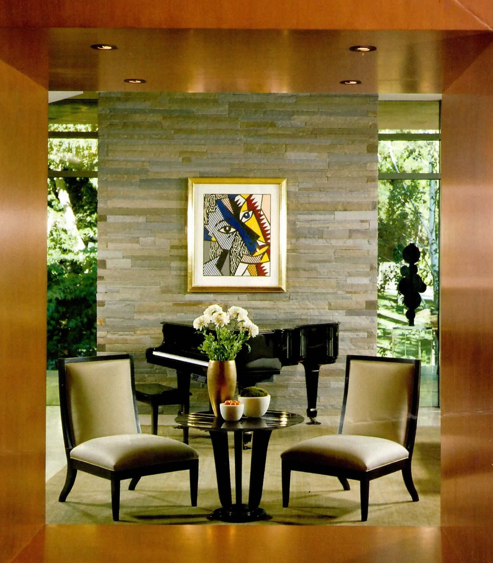 Dining Room Accent Wall With Stone And Windows: Conversation Area Symmetrical To Stone Tile Wall And