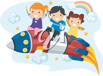 Illustration of Little Kids riding on a Rocket