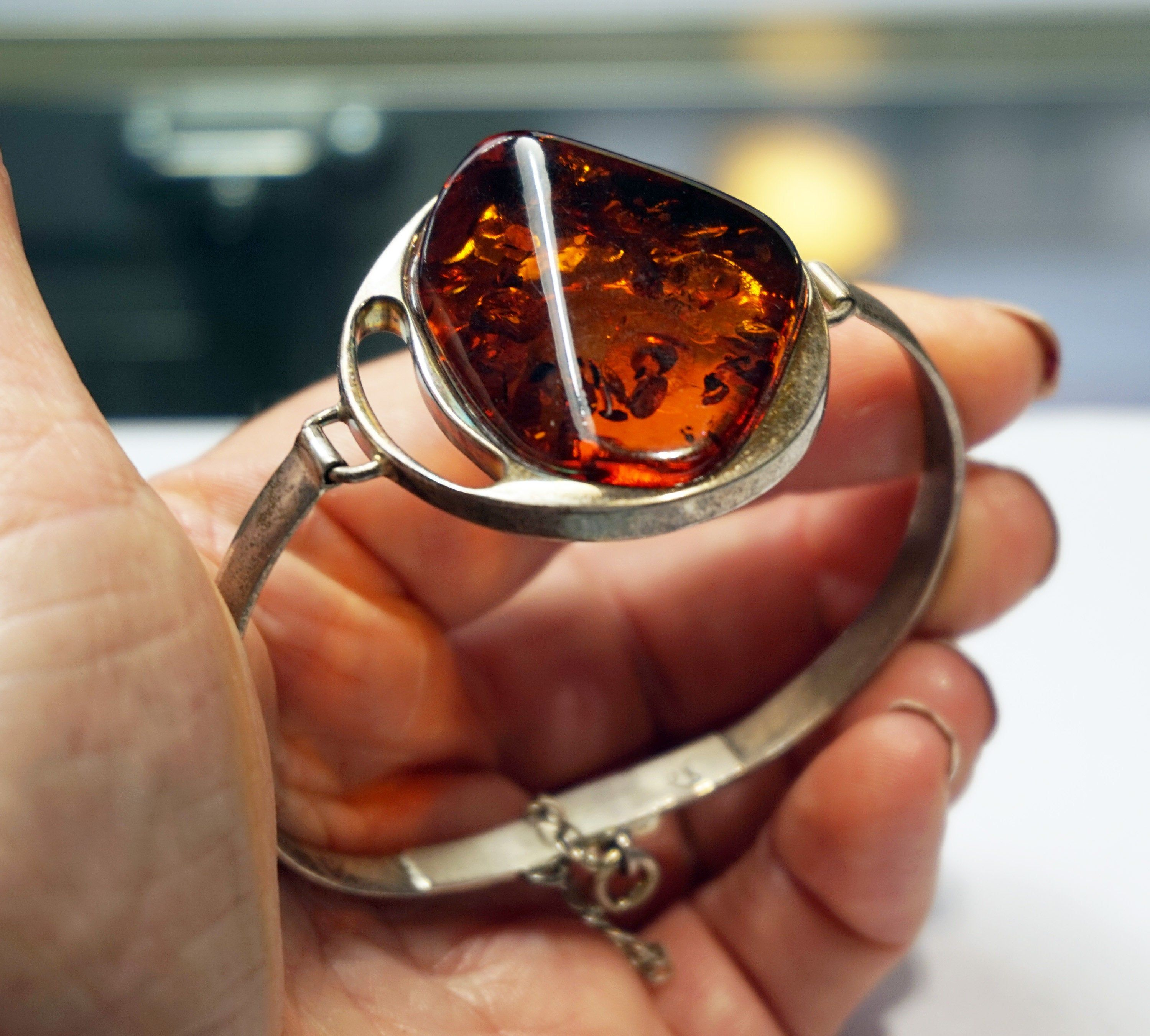 BALTIC AMBER SILVER Bracelet Big Cognac Amber Stone 925 Sterling Silver Bangle Bracelet 6.5 Unique Gift Ideas For Her Holiday Gift For Women