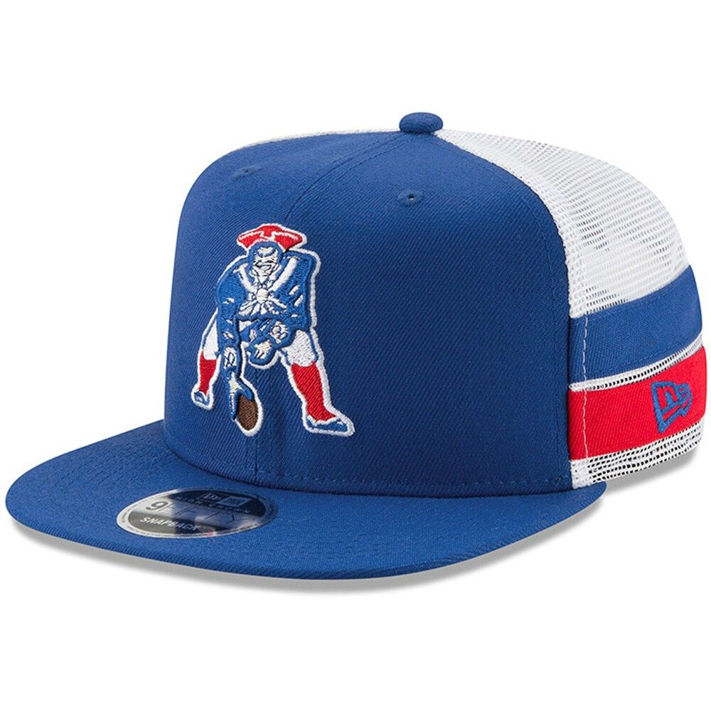 Men S New Era Royal White New England Patriots Throwback Logo Striped Side Lineup 9fifty Adjustable Snapback Hat New England Patriots Merchandise New England Patriots Patriots