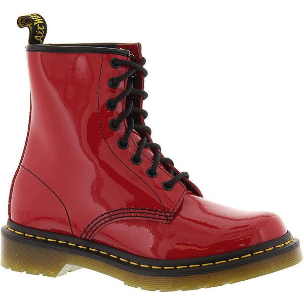Dr. Martens Black Patent 8 Eye 1460 Boots ($125) ❤ liked on