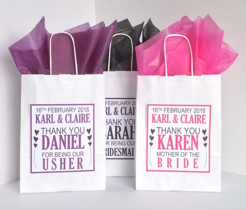 Personalised Wedding Favour Paper Gift Bag Thank You Party Hearts ...