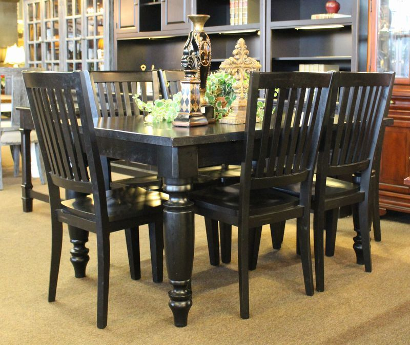 Black Pottery Barn Amherst Dining Set Consisting Of Table