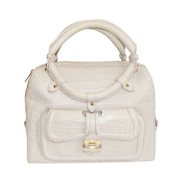 Pre-Owned Jimmy Choo Ultimate Alligator Blush Color Top Handle Bag... ($2,450) ❤ liked on Polyvore featuring bags, handbags, pink, alligator handbags, pink hand bags, alligator purse, white handbags and preowned handbags