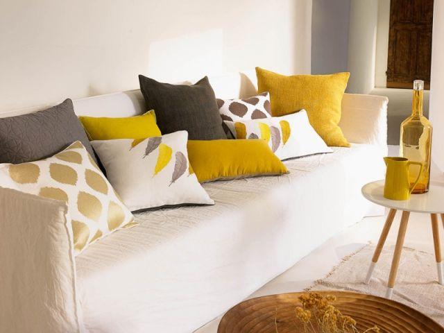 camaieu de couleurs melange des matieres et des motifs les coussins offrent de multiples possibilites pour decorer votre salon grace a ces accessoires