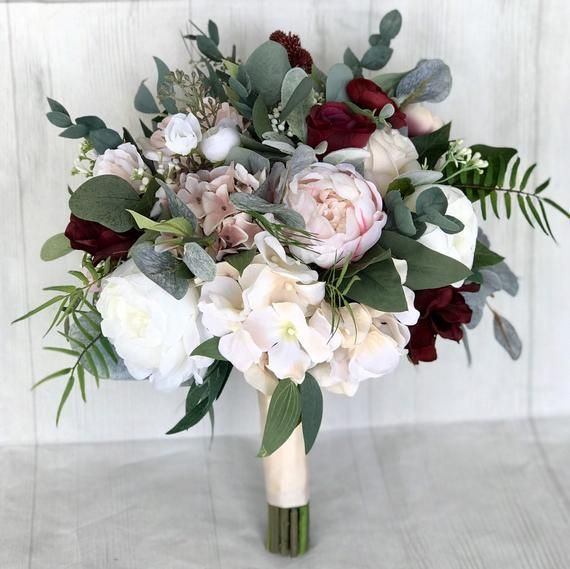Wedding bouquet, Blush & Burgundy Bridal bouquet, Silk wedding flowers, Faux bouquet, Blush and burg